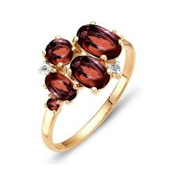 Кольцо из красного золота с фианитами, гранатами