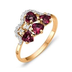 Кольцо из красного золота с фианитами, родолитами