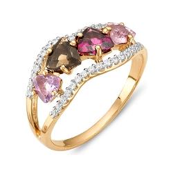 Кольцо из красного золота с родолитами, аметистами, раухтопазом, фианитами
