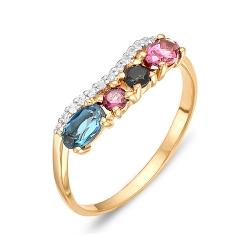 Кольцо из красного золота с родолитами, топазом, фианитами