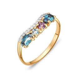 Кольцо из красного золота с аметистом, топазами, фианитами