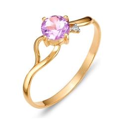 Кольцо из красного золота с аметистом, фианитом