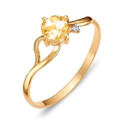 Кольцо из красного золота с цитрином, фианитом