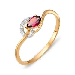 Кольцо из красного золота с родолитами, фианитами