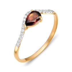 Кольцо из красного золота с гранатом, фианитами