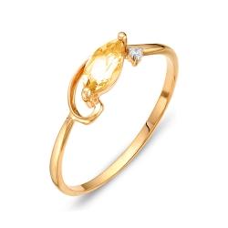 Кольцо из красного золота с фианитом, цитрином