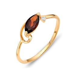 Кольцо из красного золота с гранатом, фианитом