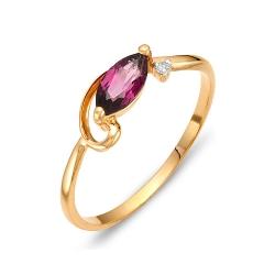 Кольцо из красного золота с родолитами, фианитом