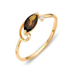 Кольцо из красного золота с раухтопазом, фианитом