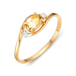 Кольцо из красного золота с фианитами, цитрином