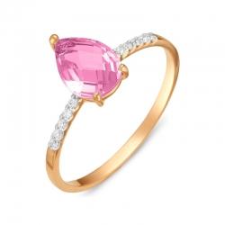 Кольцо из красного золота с аметистом, фианитами