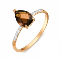 Кольцо из красного золота с раухтопазом, фианитами