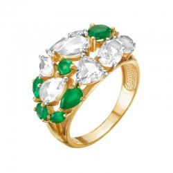 Кольцо из красного золота с зеленым агатом, горным хрусталем