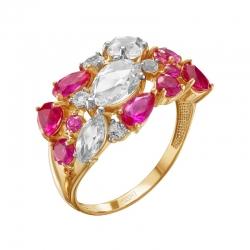 Кольцо из красного золота с рубинами, горными хрусталями, фианитами