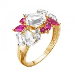 Кольцо из красного золота с рубином, рубинами, горными хрусталями