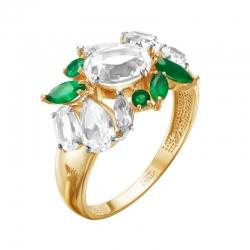 Кольцо из красного золота с горным хрусталем, зеленым агатом
