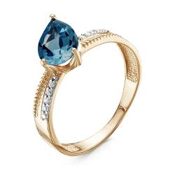 Кольцо из красного золота с топазом, фианитами