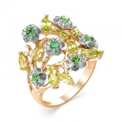 Кольцо Цветы из красного золота с цветными камнями