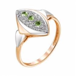 Золотое кольцо с хризолитом и фианитами