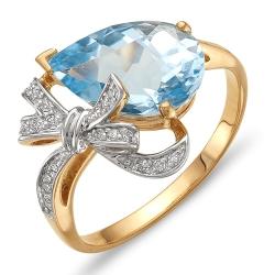 Кольцо Бантик из красного золота с топазом, фианитами