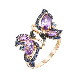 Золотое кольцо с аметистами, топазами и фианитами