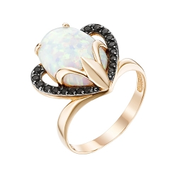 Золотое кольцо с опалом и фианитами