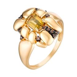 Золотое кольцо с султанитом и фианитом