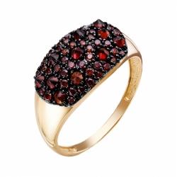 Кольцо из красного золота 585° с гранатами, фианитами