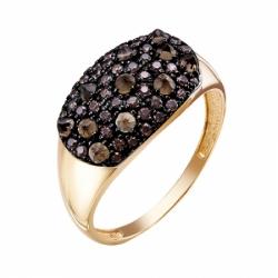 Кольцо из красного золота 585° с раухтопазами, фианитами