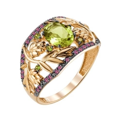 Золотое кольцо с султанитом и фианитами