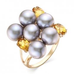 Кольцо из красного золота с цитринами,серым жемчугом