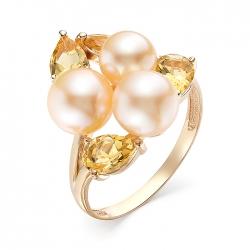 Кольцо из красного золота с жемчугом, цитринами