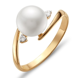 Кольцо из красного золота с белым жемчугом, фианитами