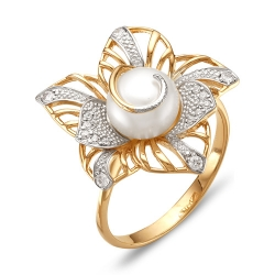 Кольцо Цветок из красного золота с белым жемчугом, фианитами