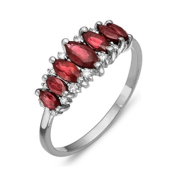 Кольцо из белого золота с бриллиантами, рубинами