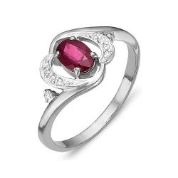 Кольцо из белого золота с бриллиантами, рубином