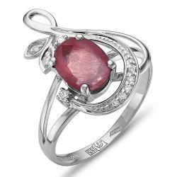 Кольцо из белого золота с рубином, бриллиантами