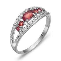 Кольцо из белого золота с рубинами, бриллиантами