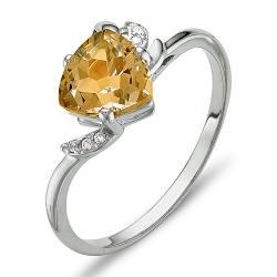 Кольцо из белого золота с цитрином, фианитами
