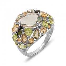 Кольцо из белого золота с аметистом, турмалинами, хризолитами, цитринами