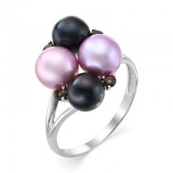 Кольцо с фиолетовым и черным жемчугом, раухтопазами