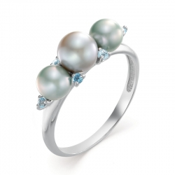 Кольцо из белого золота с голубым жемчугом, топазами