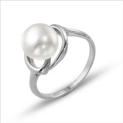 Кольцо из белого золота с белым жемчугом