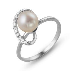 Кольцо из белого золота с жемчугом, фианитами