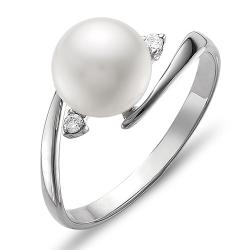 Кольцо из белого золота с белым жемчугом, фианитами