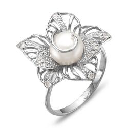 Кольцо Цветок из белого золота с белым жемчугом, фианитами