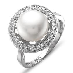 Кольцо из белого золота с белым жемчугом, бриллиантами