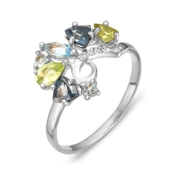 Кольцо из серебра с топазом, фианитами, хризолитами