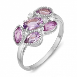 Кольцо из серебра с аметистами, фианитами