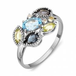 Кольцо из серебра с топазами, хризолитами